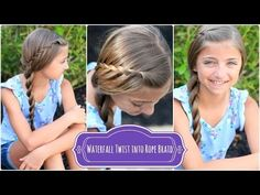 Video for a super easy, quick summer hairstyles.  Style wet or dry!  #hairstyles #hairstyle #waterfalltwist #waterfall #cutegirlshairstyles #cutehairstyles #twist #ropetwist #summer