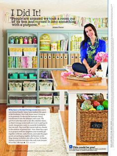 Jaime Favor of Raising up Rubies shared her amazing craft room in our February issue! Read how her story came together: http://www.bhg.com/blogs/better-homes-and-gardens-style-blog/2013/01/17/jaime-favor-behind-the-scenes-of-my-i-did-it-feature-in-bhg/ craft studio, idea, room crafts, crafting room, organizing crafts, craftroom, home craft room, family crafts, craft rooms