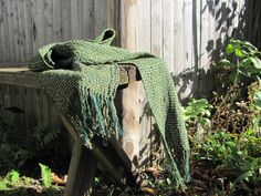 Forest Green Handwoven Scarf Spring Autumn Rustic by aclhandweaver, $135.00