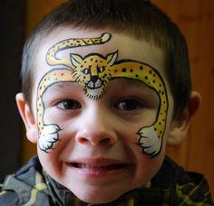 face painting leopards, cheetah face, paint ideas, facepaint inspir, face paintings, tiger mask face painting, paint design, bodi paint, facepaint idea