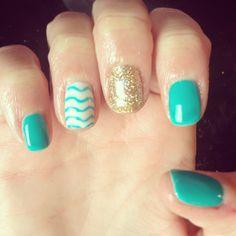 Nails shellac gelish gel nails nail art design teal gold