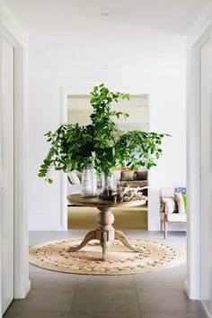 entry table, greenery