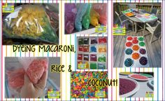 How to Dye Macaroni, Rice & Coconut for use in a sensory table and/or for crafts