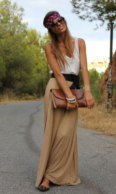 maxi skirt, colors, clutch