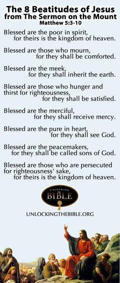 The Beatitudes from the Sermon on the Mount. Matthew 5:3-10 #Bible