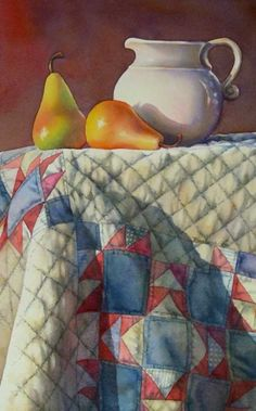 AUNT ELLEN'S PEARS watercolor still life painting, painting by artist Barbara Fox