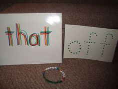 Multi-sensory ideas for teaching literacy. Words on index cards, words on beaded bracelets and rhinestone words on cardstock.