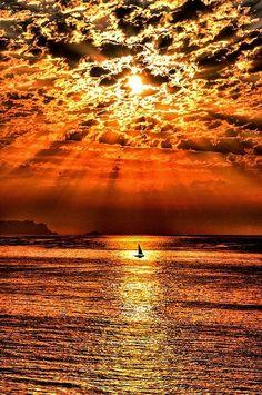 sunset, sea, cloud
