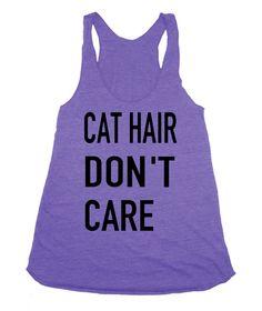 Cat hair Don't Care Long hair parody shirt funny crazy cat lady American Apparel Tri Blend screenprint Tank Top Shirt on Etsy, $20.00