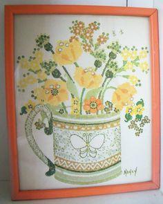 Vintage Framed Watercolor Print Nancy Solberg Flowers Bouquet Yellow Orange 1970s Painting