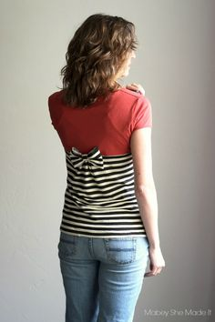 Turn that plain old T-shirt into this adorable Gathered Back T-shirt!
