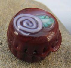 Chocolate rose bead SRA lampwork *kitzbitz*