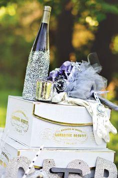 glitter covered wine bottle