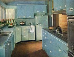 theniftyfifties:  1951 kitchen design.