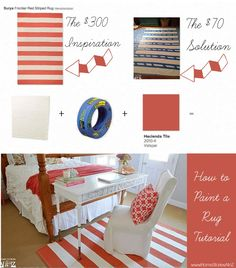 Tutorial on how to paint a striped rug on-the-cheap!