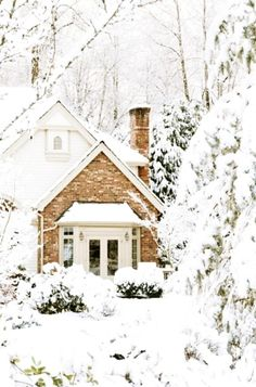 Beautiful cottage in the snow. Posted by Redlandspoodles.com