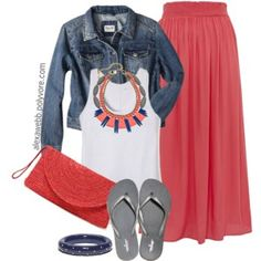 Maxi Skirt with the ubiquitious white tank top and jean jacket, snazy necklace and flip flops - Plus Size - Summer Coral Skirt