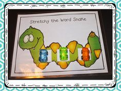 Phoneme Segmentation! Make and Take Freebie and Book Talk Tuesday! They also love working with the Stretchy the Word Snake mat. To use this mat you will need three cars (or three chips) so that they can push a car up each time they say a sound. Make sure you have them blend the word together at the end. The video below shows another way to use the mat. In the video, Madison is using a magnetic wand and magnetic chips. They LOVE this one!