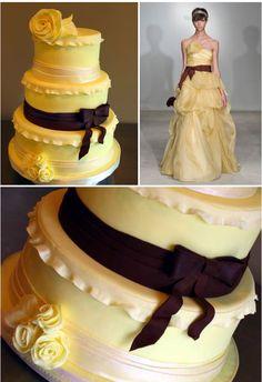 ► Inspirado en un vestido de Vera Wang, con una paleta de amarillo perfecto y color chocolate. #pasteles #bodas