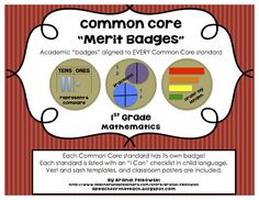 EVERY Common Core Standard has a badge that students can earn! A fun way to track progress and motivate students to master the Common Core! Fun bulletin board. Also available for ELA and K-3. $3.75, TpT - A Peach for the Teach