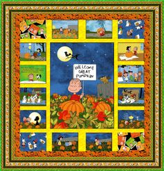 Fabric collection: Welcome Great Pumpkin by @Mary Powers Levick Treasures    Get the free quilt pattern here: http://www.allpeoplequilt.com/techniques/piecing/creative-panel-quilts_ss19.html