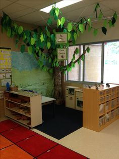 Classroom tree Made from an old box wrapped in scrunched brown paper. Branches are twisted brown paper and leaves are fabric.