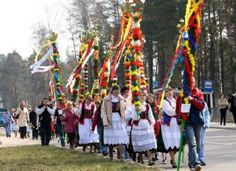 Polish Easter traditions: Palm Sunday, the week before Easter Sunday, is marked by church attendance with palm-leaf substitutes in the form of willow branches or handmade bouquets of dried flowers. There are also contest for the most beautiful/the biggest palm.