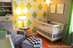Check out our awesome yellow baby room. Get more decorating ideas at http://www.CreativeBabyBedding.com