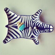 Jonathan Adler navy zebra dish. Zebra Dish, Adler Zebra, Tray, Navy, Adler Navi, Jonathan Adler, Design, Navi Zebra, Zebras