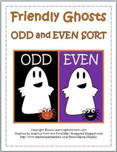 FREE Friendly Ghosts Odd and Even Sort idea, ghost odd, school, math lesson, friend ghost, ghosts, number sort, classroom freebi, halloween