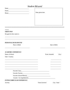 first day of school student resume this is a great activity to do with ...