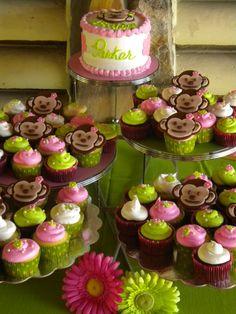 mod monkey cake and cupcakes