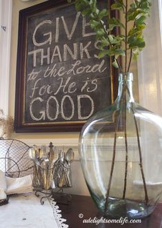 demijohn chalkboard thanksgiving quote wire baskets silver french country cottage farmhouse style #home #decor