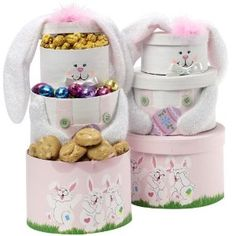"""Art of Appreciation Gift Baskets Somebunny Special Easter Bunny Tower, Pink #easter #giftbasket This absolutely ADORABLE pink bunny gift tower is filled to the top with all kinds of sweets and treats for """"Somebunny Special"""" to enjoy. Open each gift box to find delicious Chocolate Chip Cookies, Pastel Frosted and Sprinkled Pretzels, Peter Rabbit Jelly Belly Beans, bag of Lil' Bunnies individually wrapped chocolates, and a hand frosted Bunny Cookie for all to enjoy."""