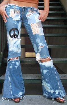 HIPPY CHIC jeans. BELL BOTTOMS painted DESTROYED $135
