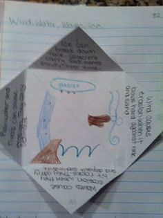 Wind, water, ice, waves. Foldable for erosion.