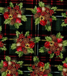 Holiday Inspirations-Berries & Bells Plaid Glitter & Holiday Fabric at Joann.com.   Thought that the material provided a great idea for decoration picks and/or candle wreaths or a larger version as a table centerpiece featuring white candles to set off the red bells.
