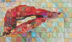 Deborah Hyde creates her modern quilts out of tiny fabric squares stitched together to make portraits.