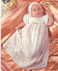 Thread Crochet Christening Set Patterns | BABY CROCHET PATTERNS~2 Heirloom Christening Sets~Gown~Bonnet~Booties ...