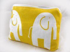 block print, zipper pouch, random collect, yellow zipper