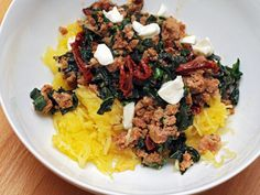 Spaghetti Squash with Sausage, Kale, and Sun-dried Tomatoes #recipe