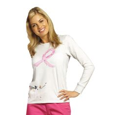 This round-neck long sleeve scrub T-shirt from White Cross features a Breast Cancer Awareness placement print. - Print name: Ribbon Print - 94% Cotton, 6% Spandex #Breast_Cancer_Awareness #Scrubs | allheart.com