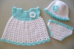 baby girl set -free crochet pattern  would be cute doll clothes for the grandbabies dolls.