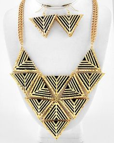 Geometry Lesson Gold and Black Statement Necklace $46 #statementjewelry #jewellery #jewlry