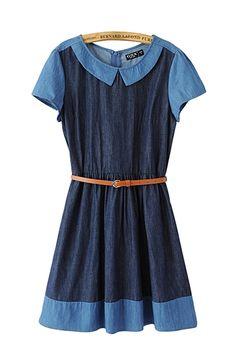 Blue Round Neck Belted Denim Short Sleeeve Dress