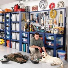 Building a Garage Storage Wall  Simple storage shelves and plastic bins transform this garage—instantly!