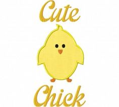 Free Cute Chick Machine Embroidery Design Includes Both Applique and Filled Stitch