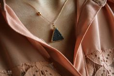Black Drusy Triangle in Goldfilled Necklace by ATELIERGabyMarcos, $75.00