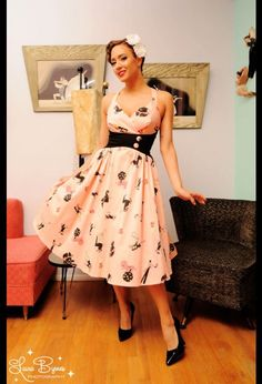 Pinup Couture Zooey Dress in Circus Print with Black Waist