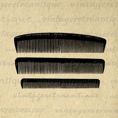 Printable Image Set of Combs Graphic Comb Hair Salon Hairdresser Barber Download Digital Antique Clip Art. High quality digital image download for printing, fabric transfers, and much more. Real printable antique clip art. Antique artwork. This graphic is high quality at 8½ x 11 inches large. Transparent background version included with every graphic.